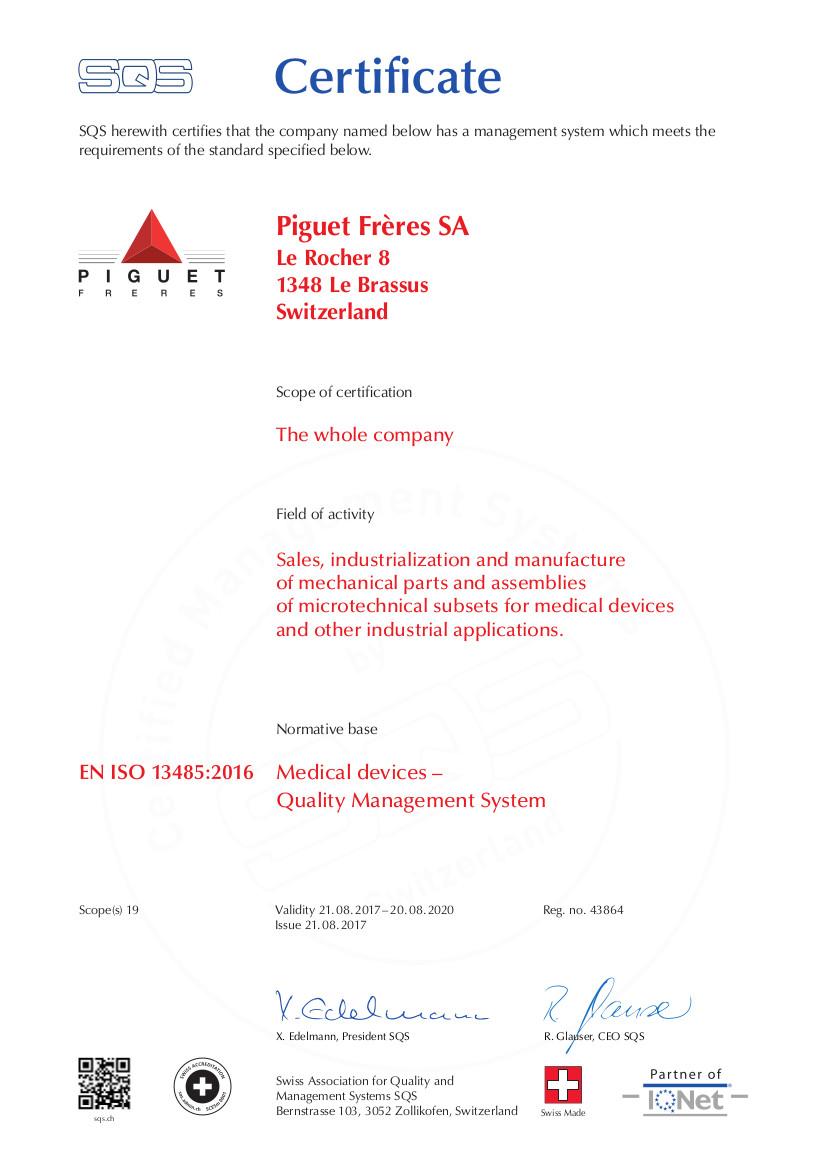 piguet frères obtains the quality certification iso 13485 2016